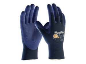 MaxiFlex Elite 34-244/L Ultra Light Weight Seamless Knit Nylon Glove with Nitrile Coated Micro-Foam Grip on Palm and Fingers, Micro Dot Palm Pack of 12